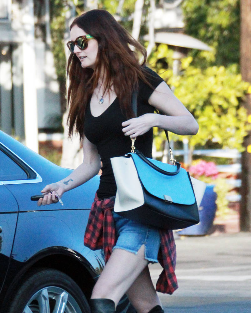 Lydia Hearst went shopping and had coffee with friends at Fred Segal in West Hollywood