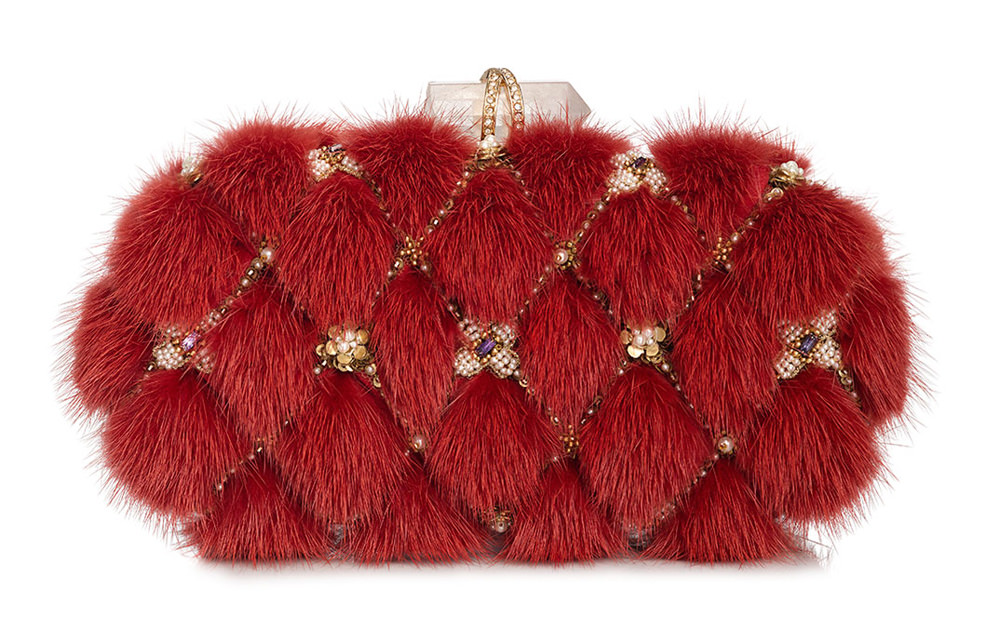 Marchesa Mink Fur Lily Box Clutch