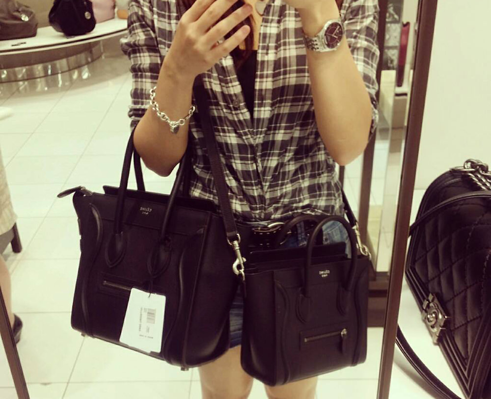 celine mini luggage tote black