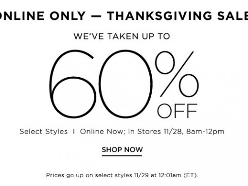 Saks: Up to 60% Off for Black Friday 2014