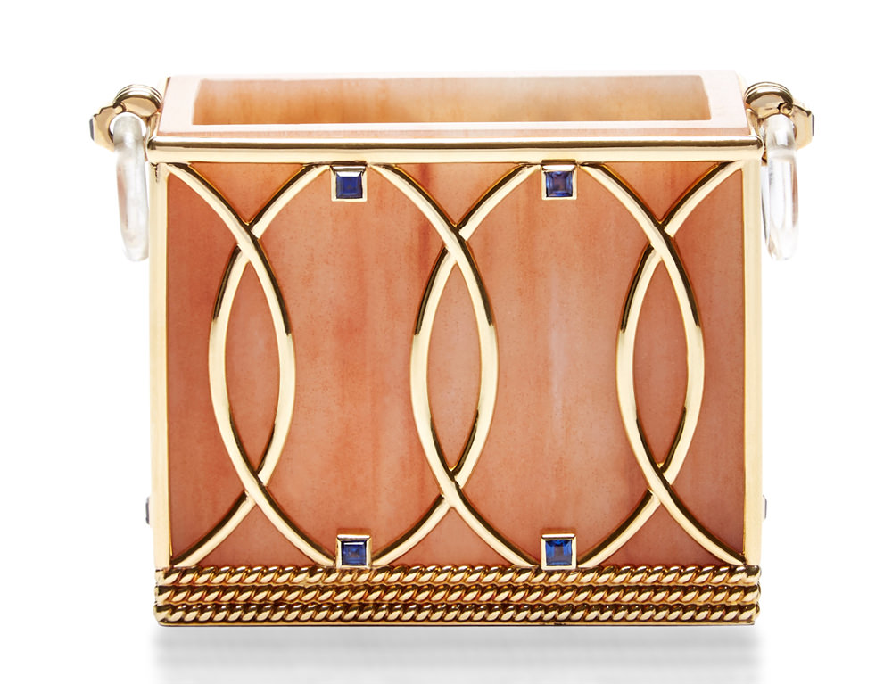 Vintage Cartier Wood Gold and Sapphire Card Holder