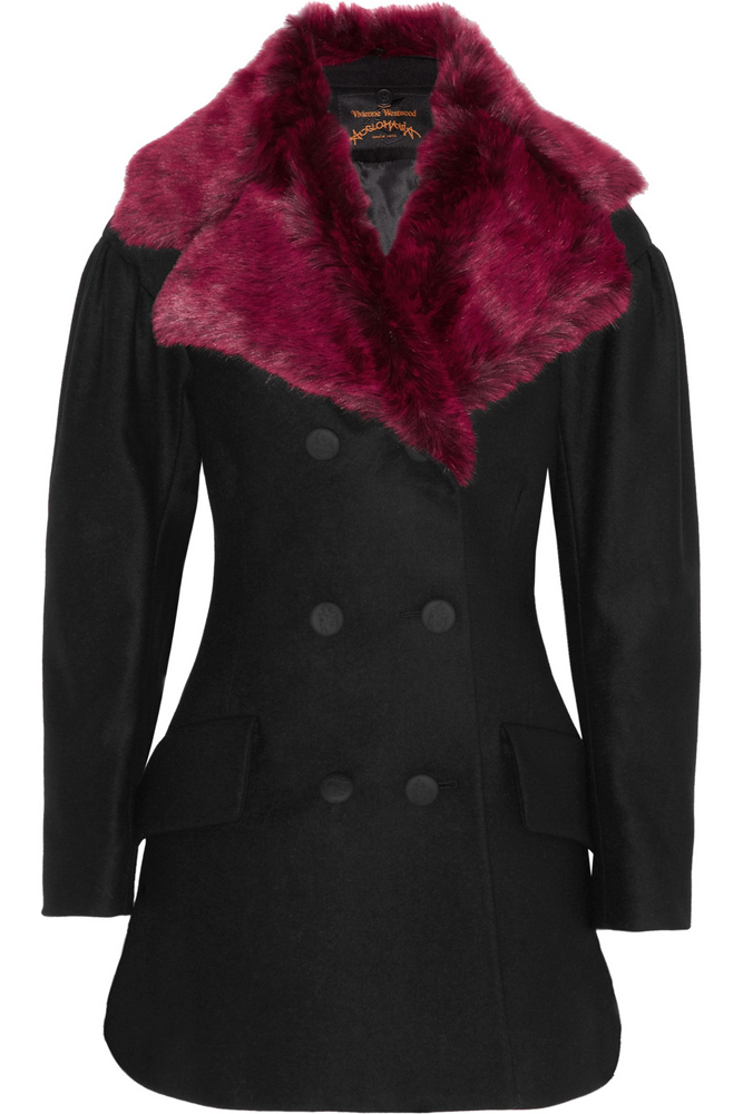 Vivienne Westwood Anglomania Risk Faux Fur Collar Pea Coat