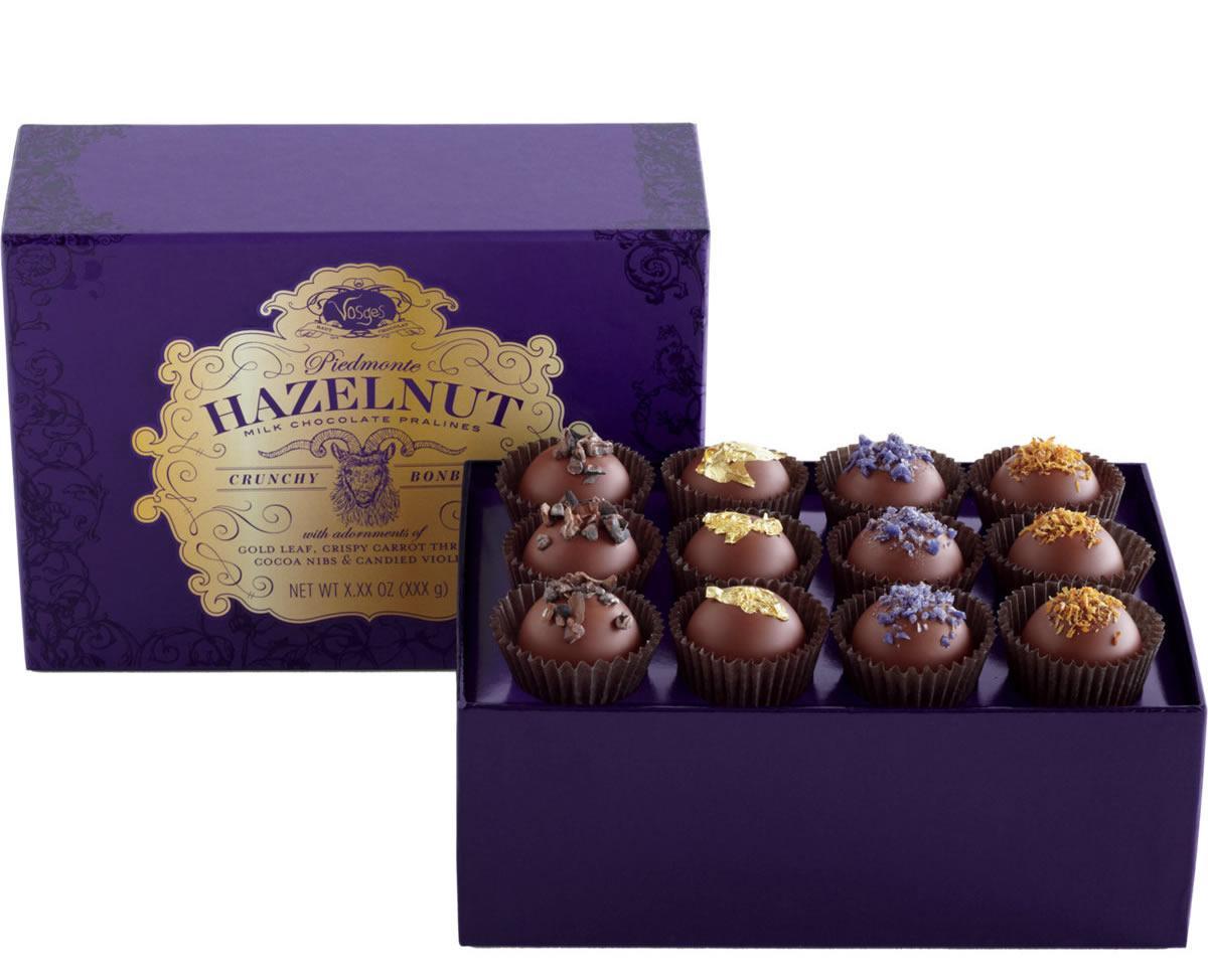 Vosges Haut-Chocolat Piemonte Hazelnut Milk Chocolate Crunchy Pralines Bonbons