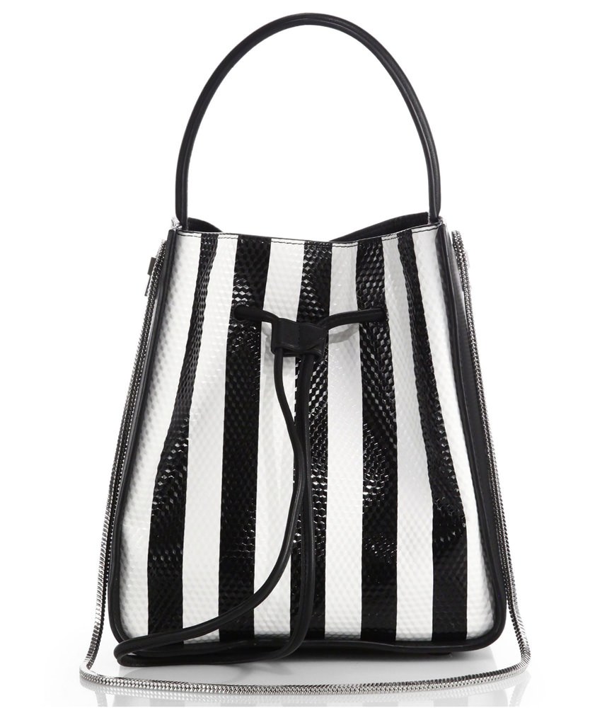 3.1 Phillip Lim Soleil Striped Textured Bucket Bag