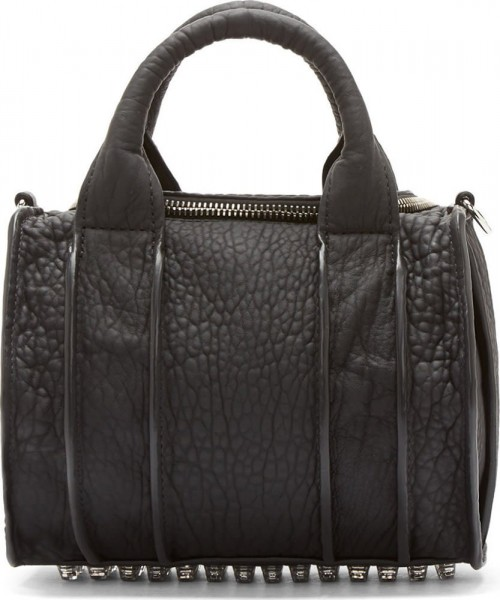Alexander Wang Black Pebbled Leather Rockie Duffle Bag