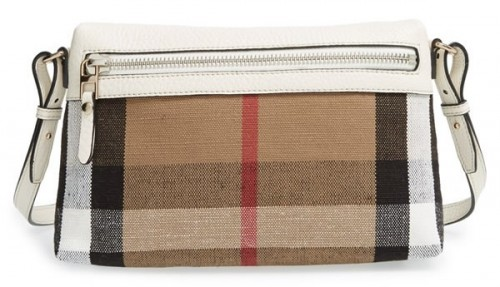 Burberry Small Farley Check Leather Crossbody Bag