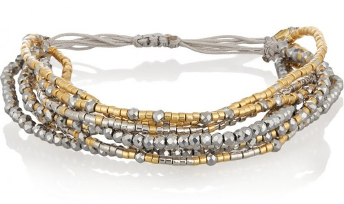 Chan Luu Gold-Plated Bead Crystal and Satin Bracelet