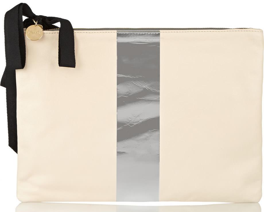 Clare V Metallic Striped Leather Clutch