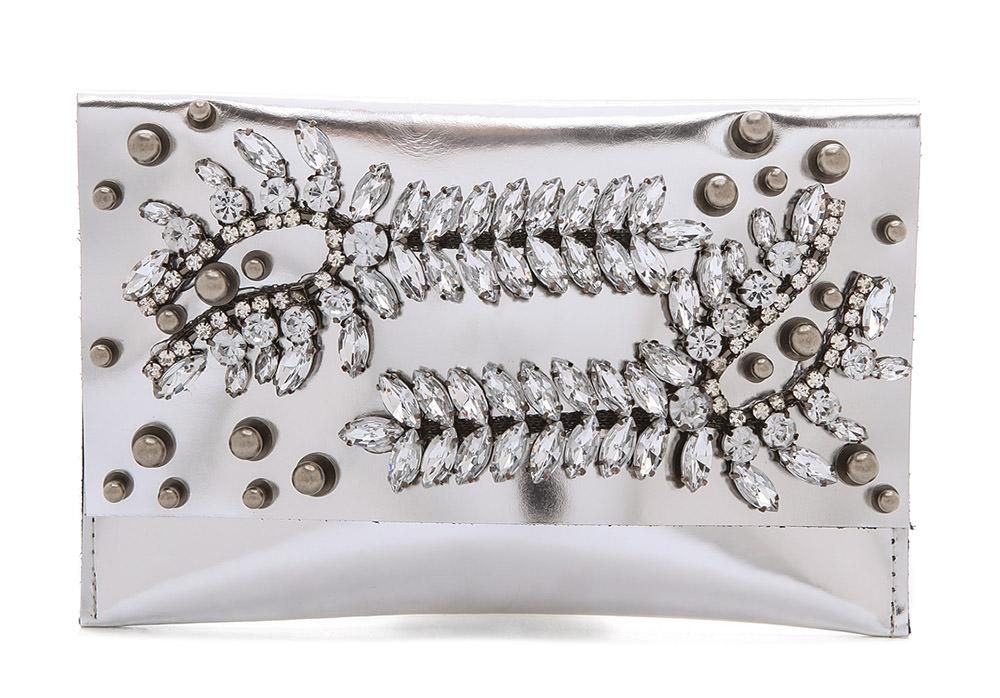 David Galan Embellished Metallic Clutch
