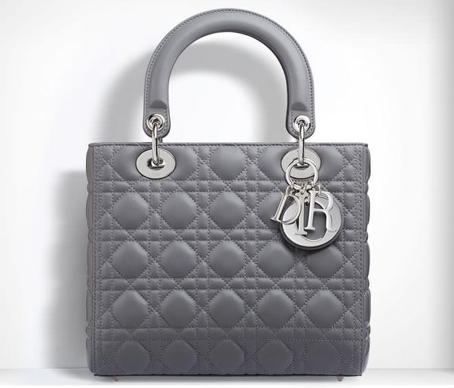 Dior Lady Dior Gris Lambskin Bag
