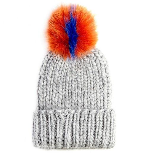 Eugenia Kim Rain Knit Hat with Fur Pompom