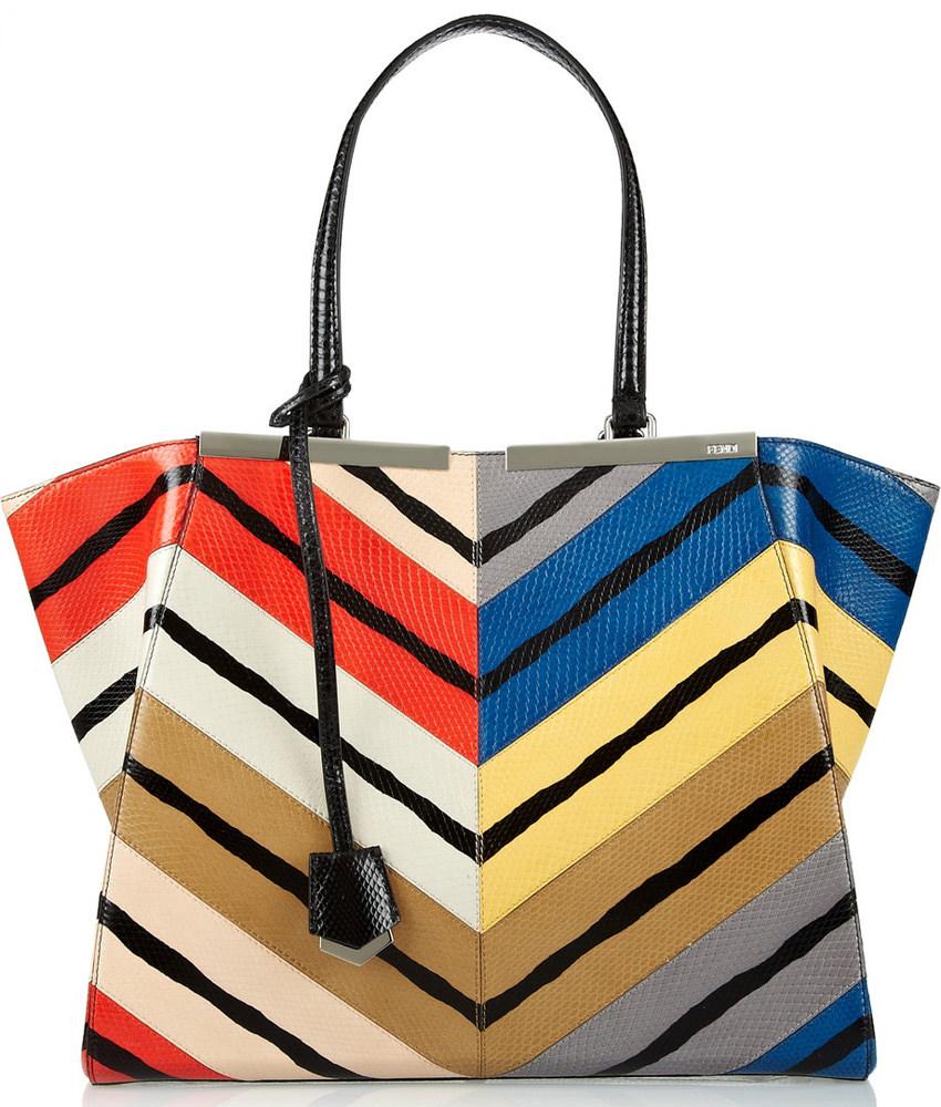 Fendi 3Jours Chevron Stripe Watersnake Bag