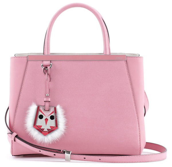 8cebcc56af Fendi Petite 2Jours Leather Shopper with Genuine Mink Fur Genuine Fox Fur  Bird Charm