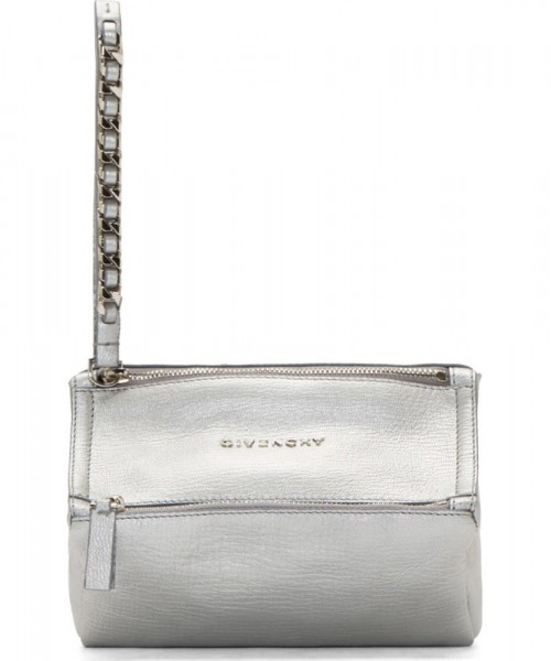Givenchy Silver Sugar Leather Pandora Wristlet Clutch