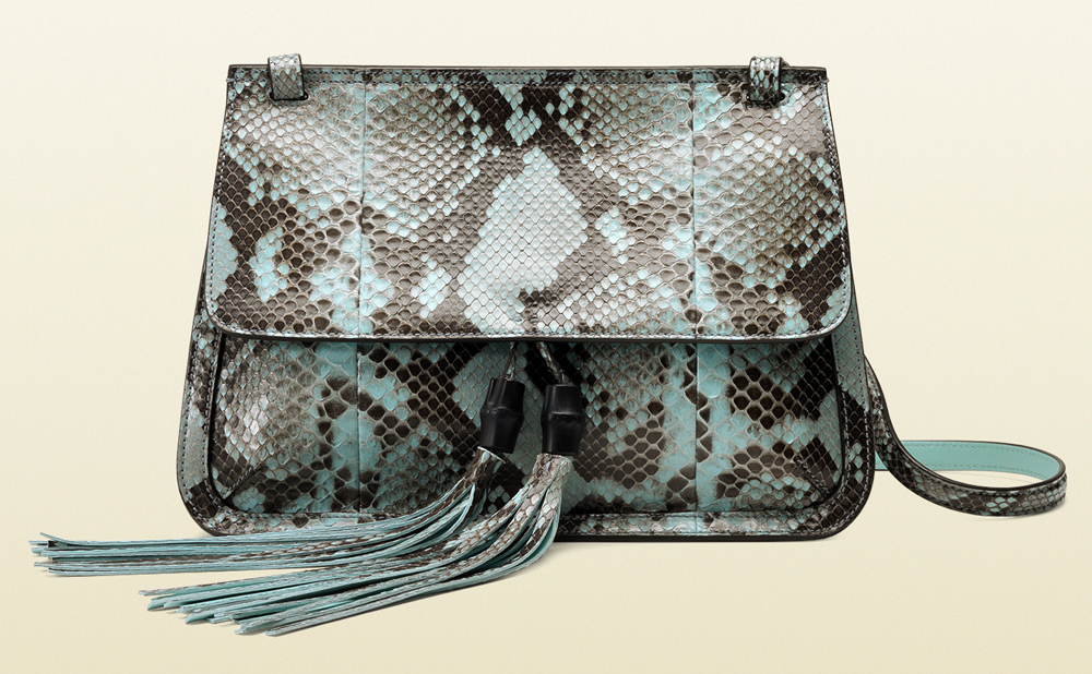 Gucci Bamboo Daily Python Flap Shoulder Bag