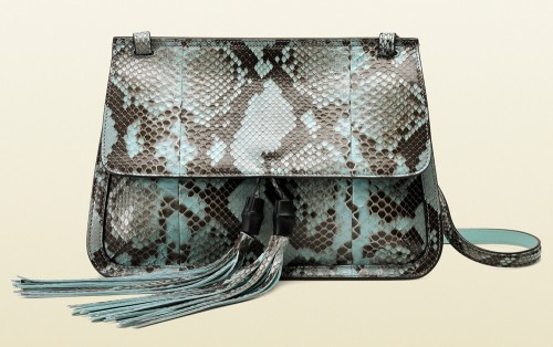 Gucci Bamboo Daily Python Flap Shoulder Strap