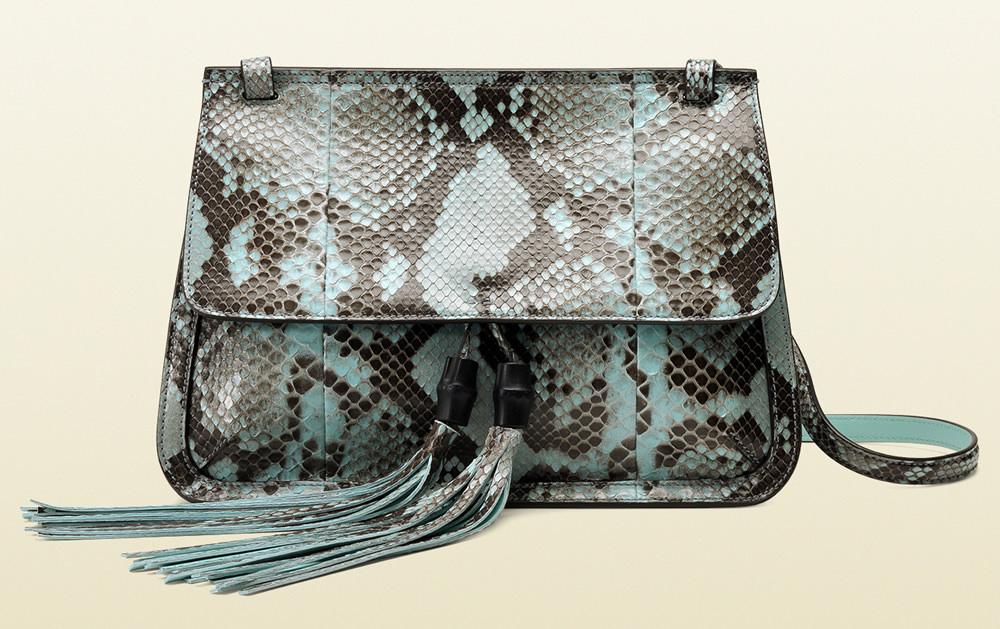 Gucci Bamboo Daily Python Flap Shoulder Strap