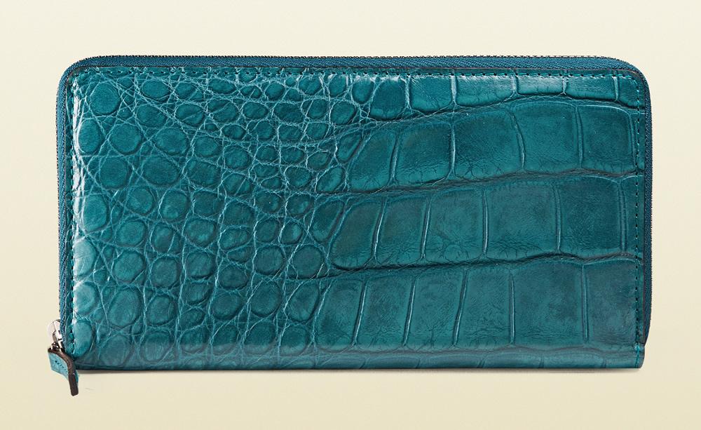 Gucci Crocodile Zip Around Wallet