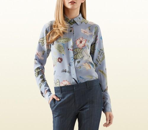 Gucci Flora Knight Print Silk Straight Shirt