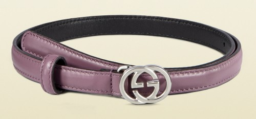 Gucci Leather Skinny Belt with Interlocking G Buckle