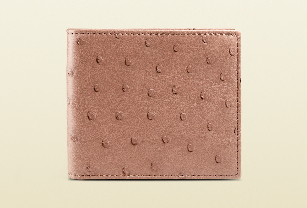 Gucci Ostrich Bi-Fold Wallet