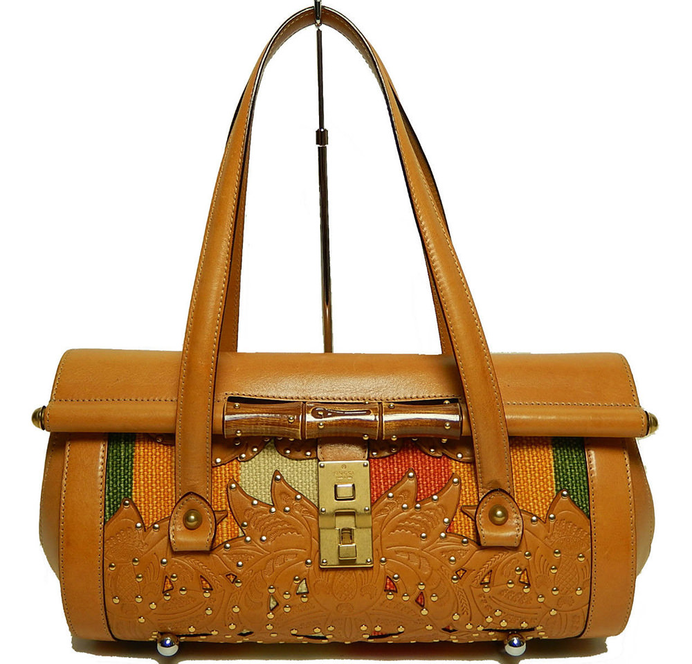 Gucci Tooled Leather Bamboo Bag