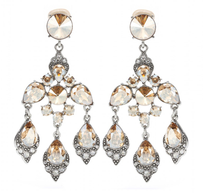 Oscar de la Renta Chandelier Clip Earrings