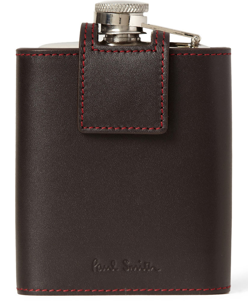Paul Smith Leather-Cased Steel Hip Flask
