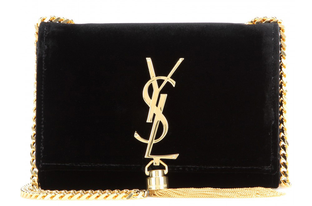 Saint Laurent Petit Satchel Monogramme Velvet Shoulder Bag