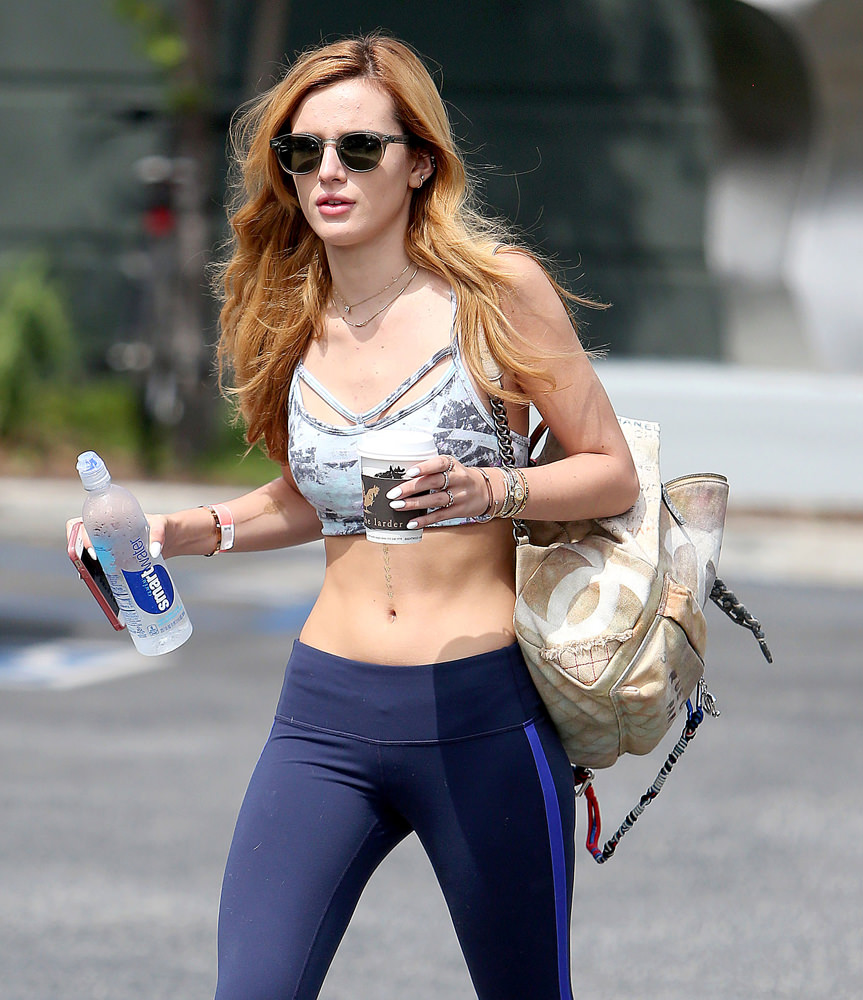 ***NO DAILY MAIL SALES*** Bella Thorne seen leaving SoulCycle in Brentwood