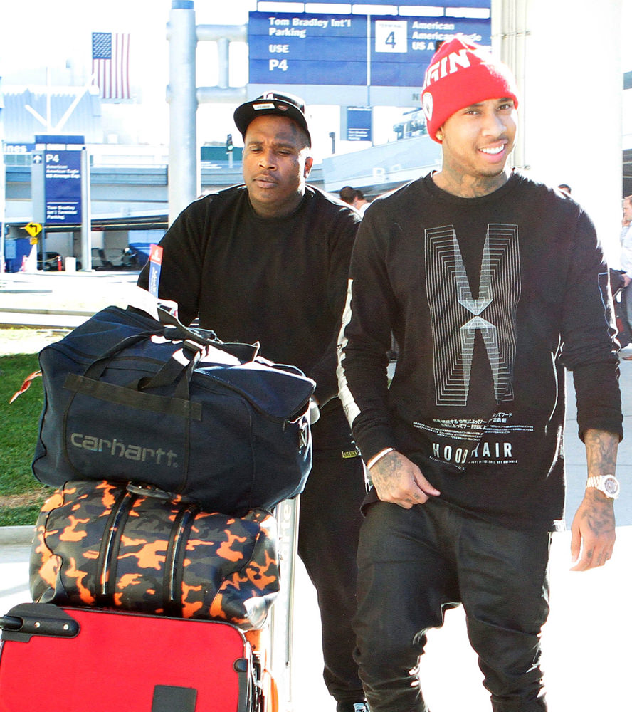 Rapper Tyga, the rumoured boyfriend of Kylie Jenner, is spotted arriving at LAX Airport in Los Angeles, CA
