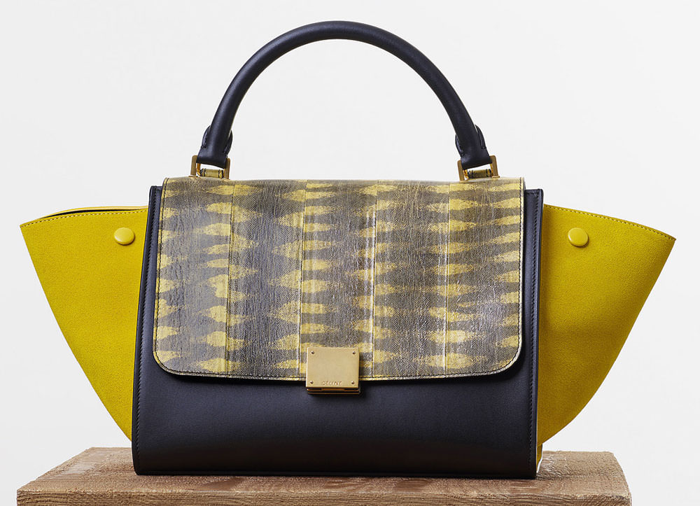 Celine-Small-Trapeze-Bag-Yellow-Tigersnake