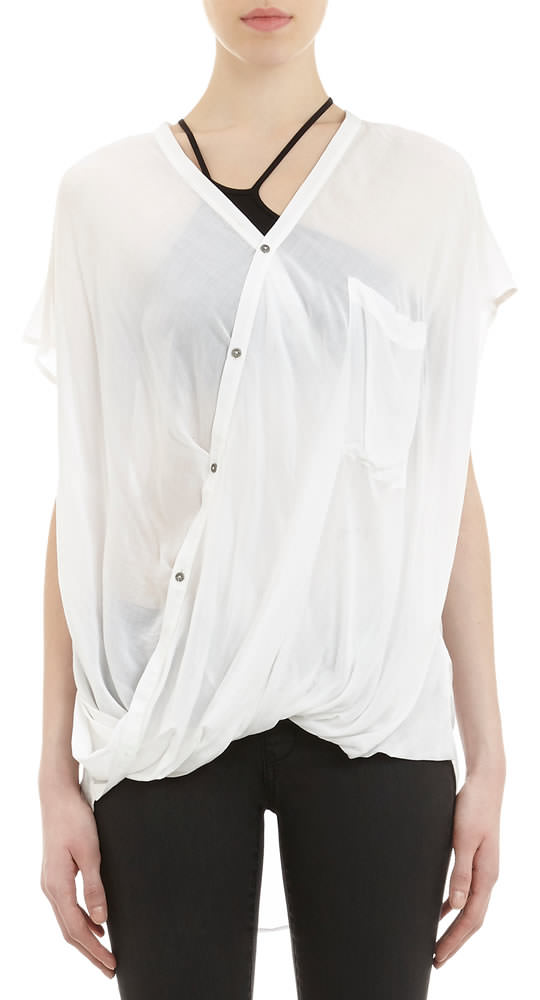 Helmut Lang Cap-Sleeve Drape Top