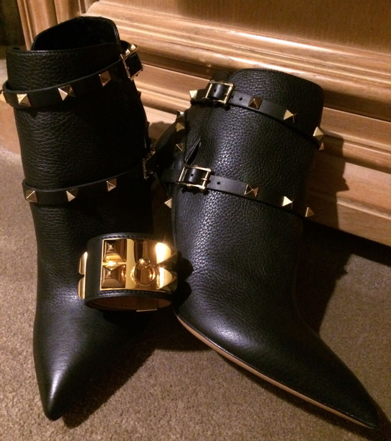 Hermes-CDC-Cuff-and-Valentino-Rockstud-Boots