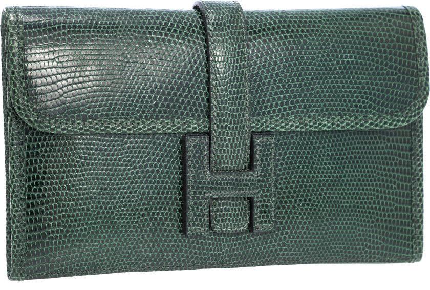 Hermes-Jige-Clutch-Vert-Fonce-Lizard