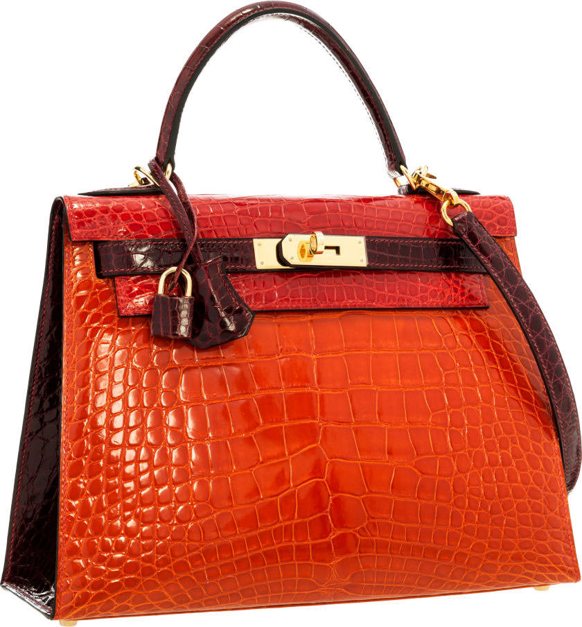 Hermes-Kelly-Special-Order-Shiny-Braise,-Orange-H-&-Bordeaux-Alligator-28cm