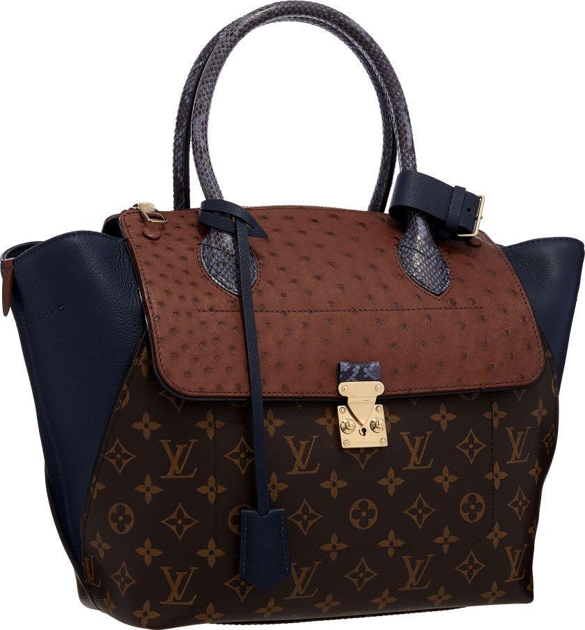 Louis-Vuitton-Majestueux-PM-Tote-Brown-Ostrich,-Blue-Python-&-Classic-Monogram-Canvas