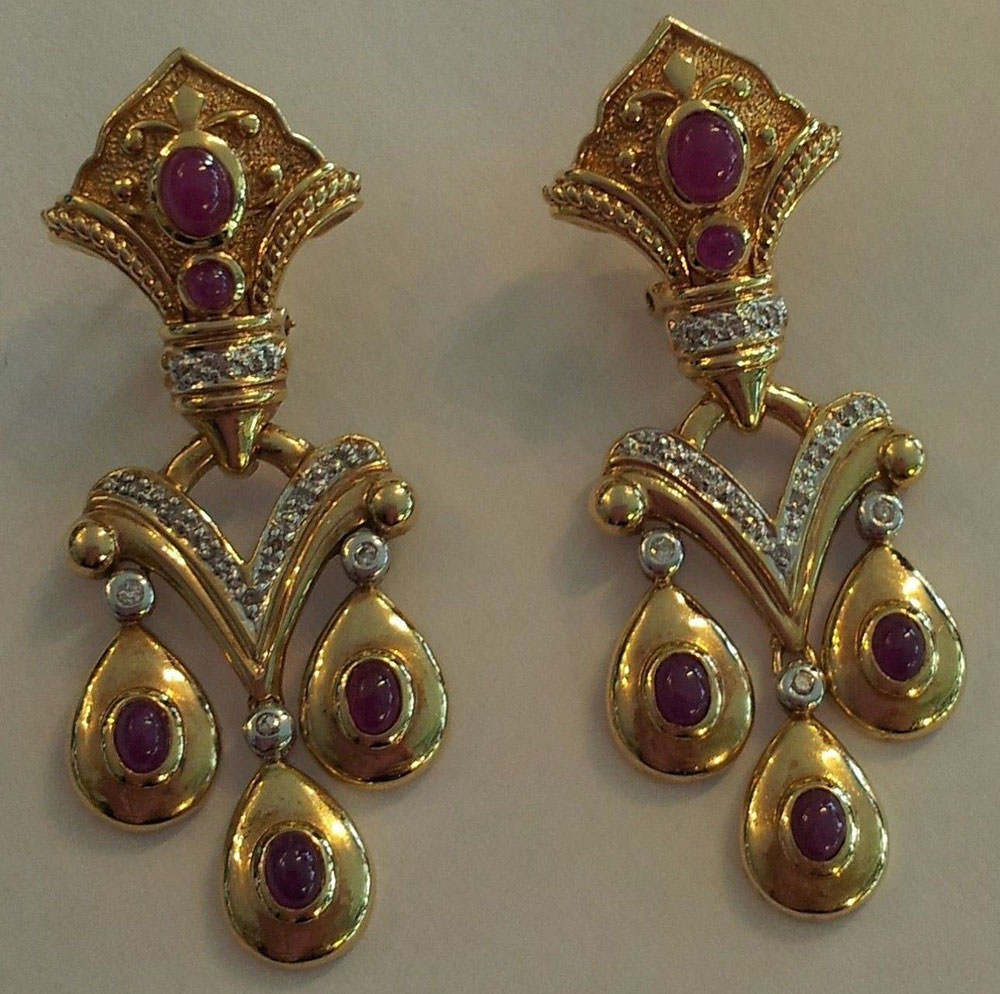 Ruby-Cabochon-and-Diamond-Earrings