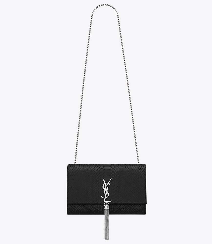 Saint Laurent Classic Medium Monogram Tassel Satchel in Black Python Embossed Leather