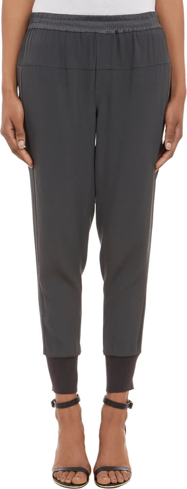 Vince Satin-Back Crepe Jogger Pants