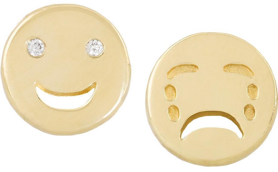 Alison Lou Happy Sad 14-karat gold diamond earrings