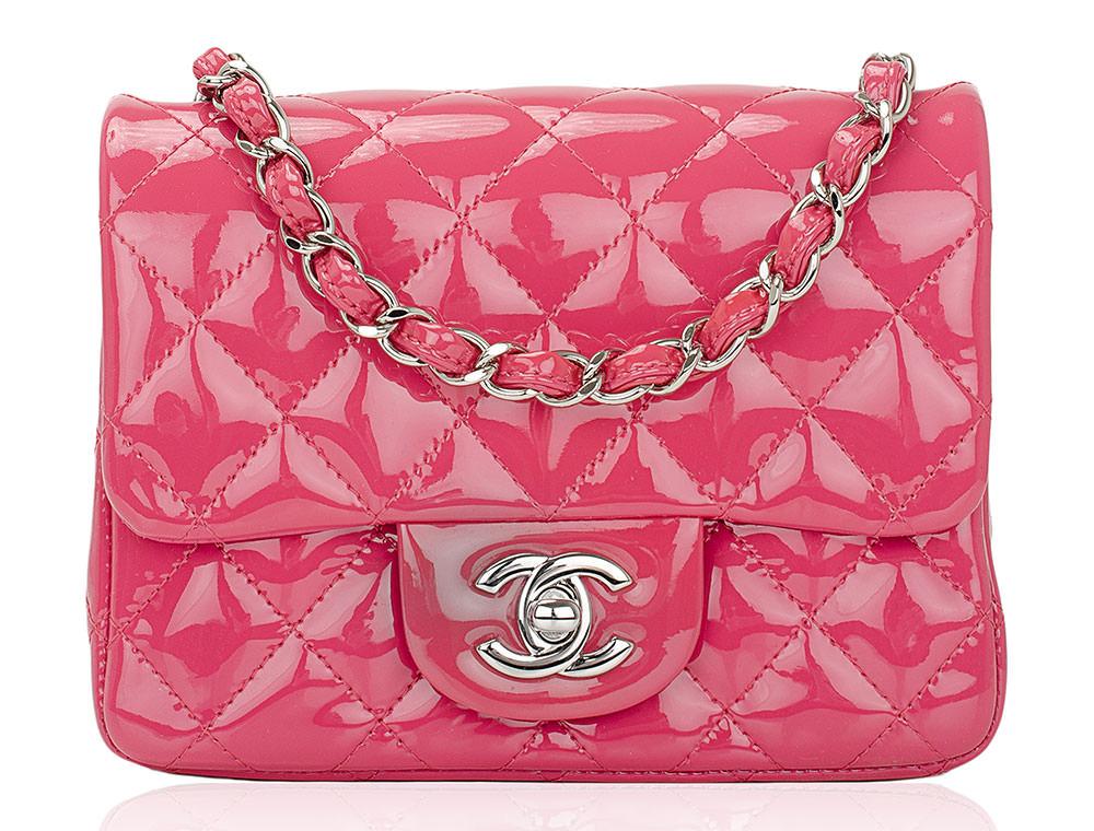 Chanel-Pink-Patent-Mini-Flap-Bag