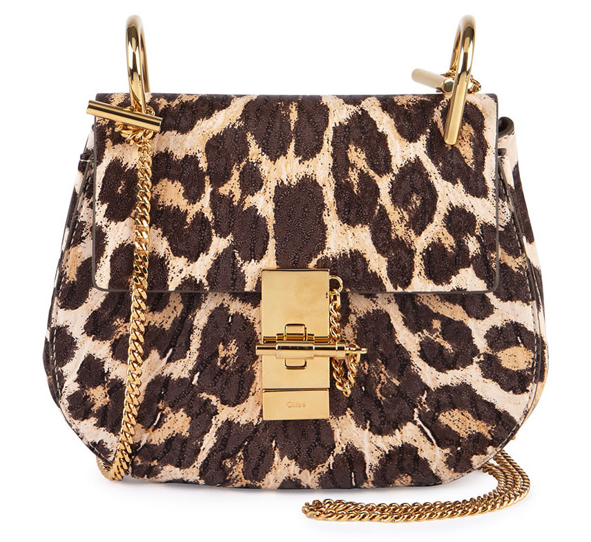 Chloe Drew Mini Chain Shoulder Bag in Leopard