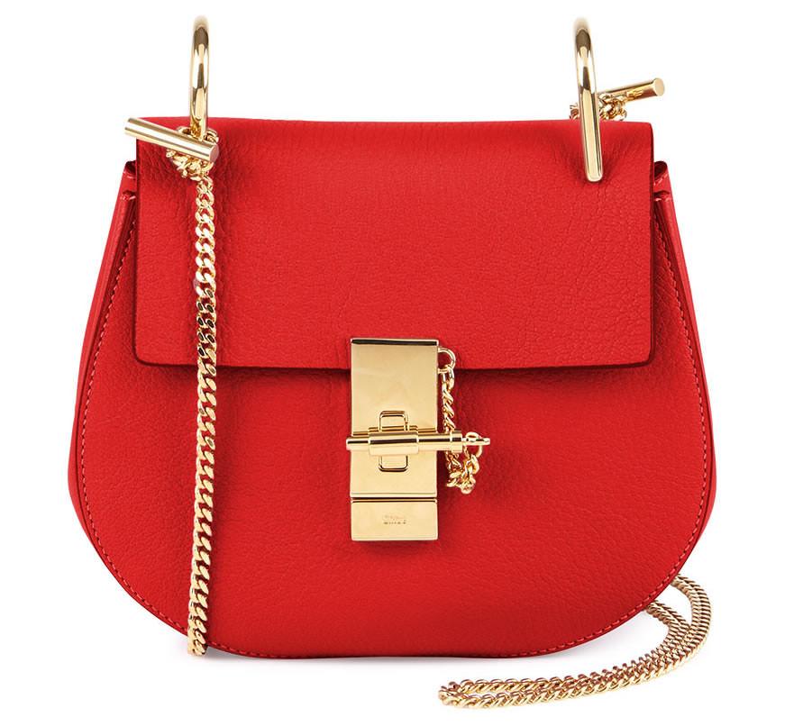 Chloe Drew Mini Chain Shoulder Bag In Red