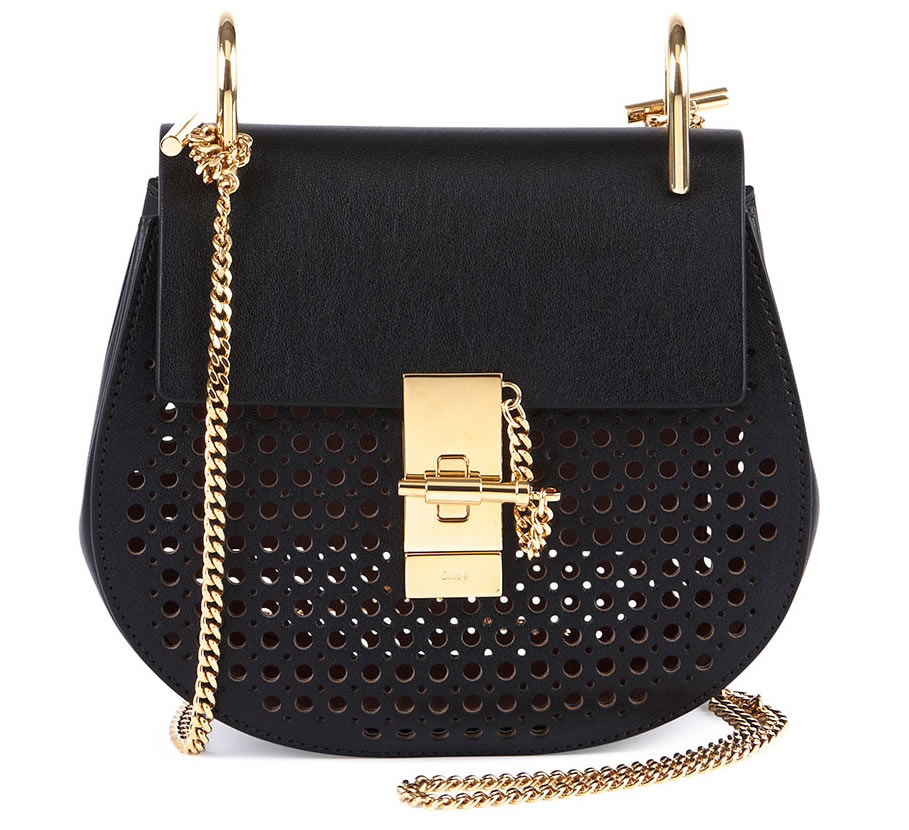 Chloe Drew Perforated Mini Shoulder Bag Black