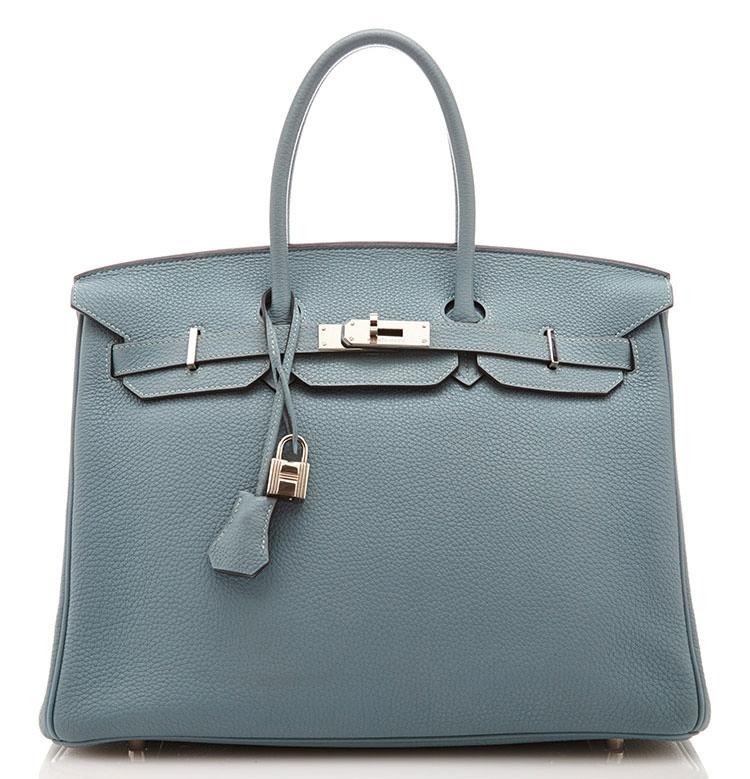 Hermes-35cm-Blue-Lin-Birkin-Togo