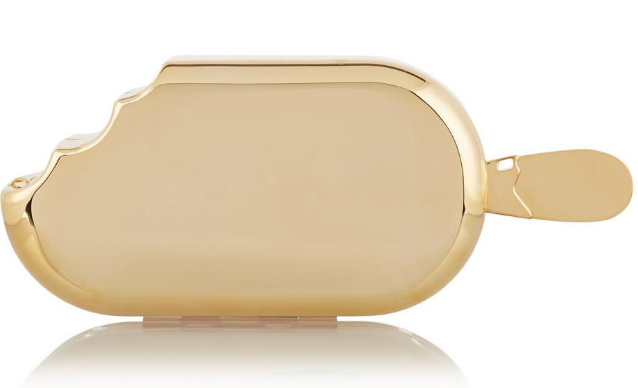 House of Holland Ice Cream Metallic Brass Clutch