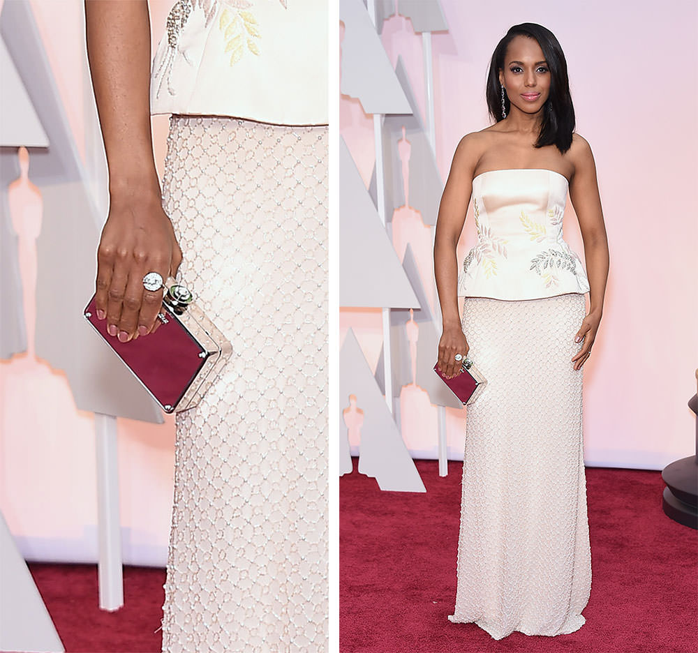 Kerry Washington Silver Mirror Clutch