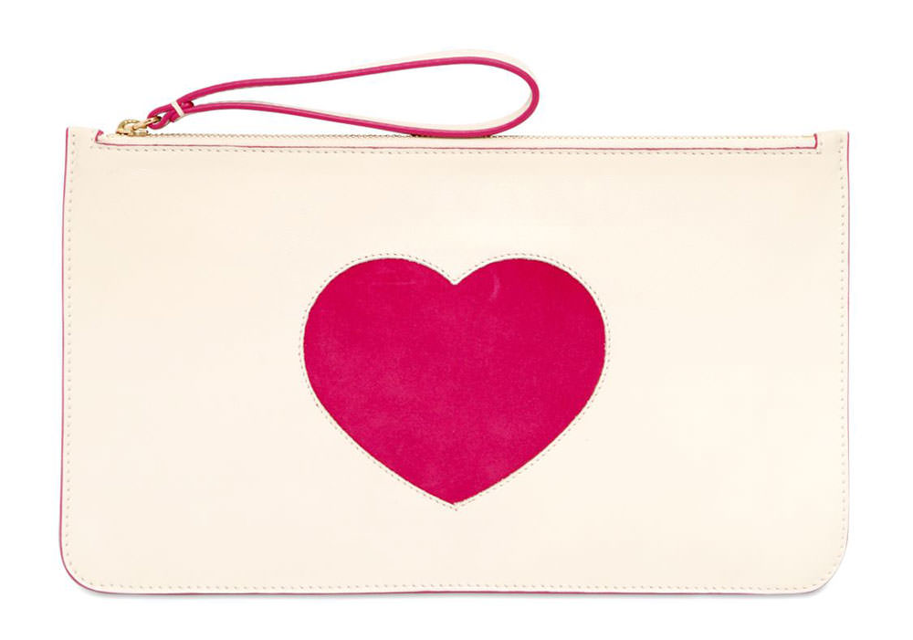 RED-Valentino-Suede-Heart-Leather-Pouch