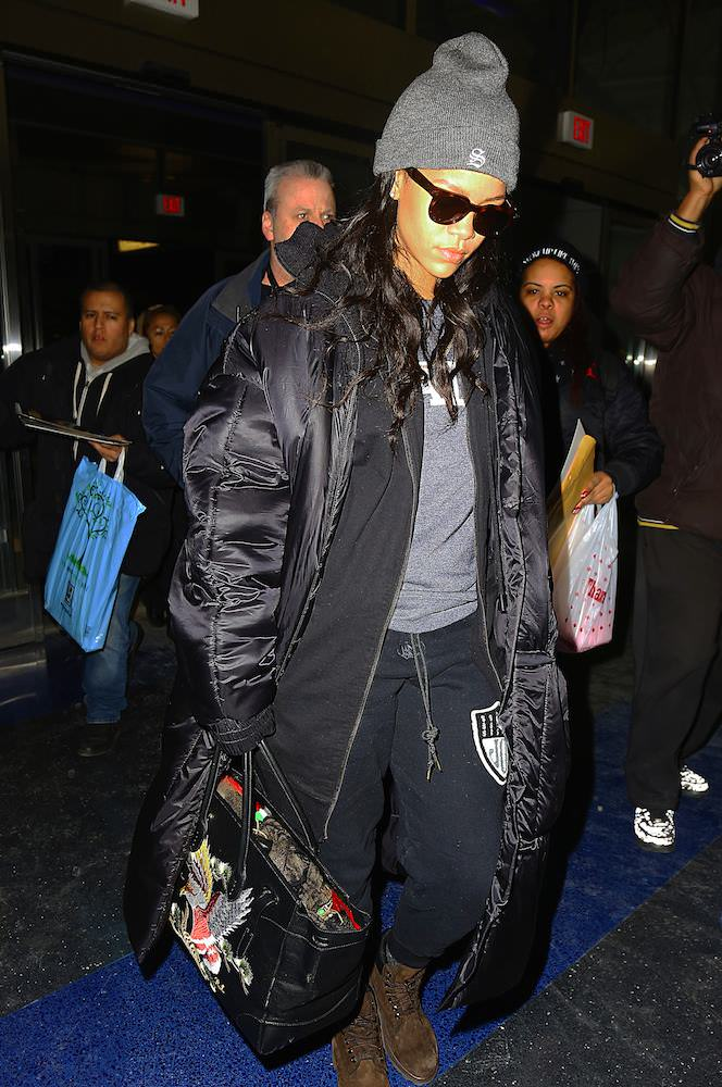 Rihanna catches a flight out of JFK airport in NYC